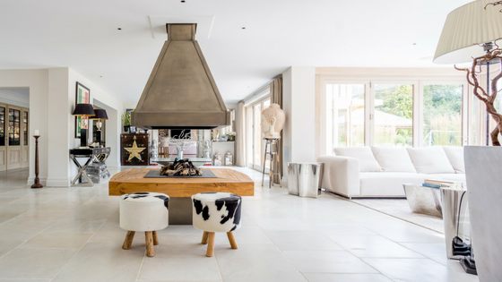 Contemporary living space with limestone flooring