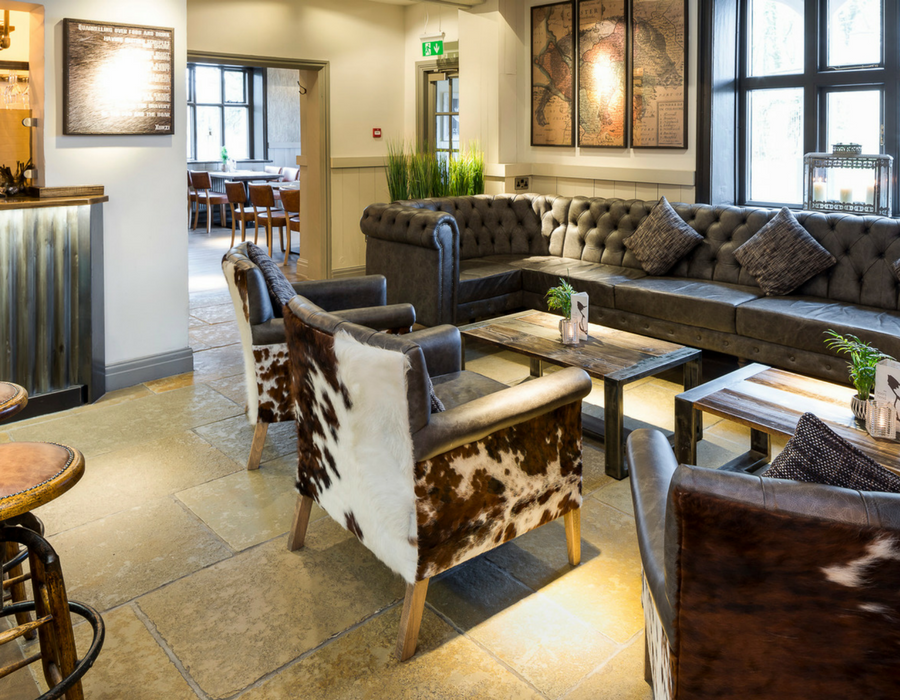 Lounge area at the Boars Head with coffee table and chairs