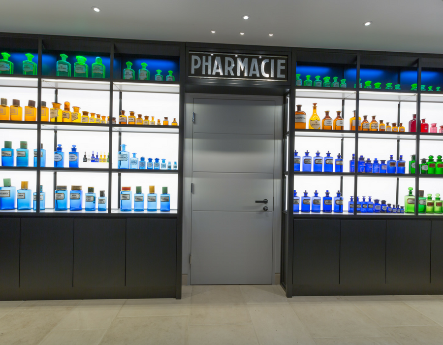Bespoke pharmacy cupboard for a London Mews project