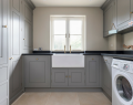 Utility with grey painted cupboards and ceramic Belfast sink
