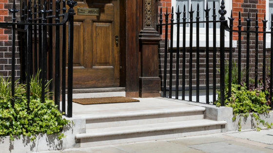 London townhouse front step
