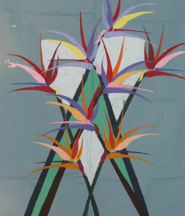 Geometric floral painting