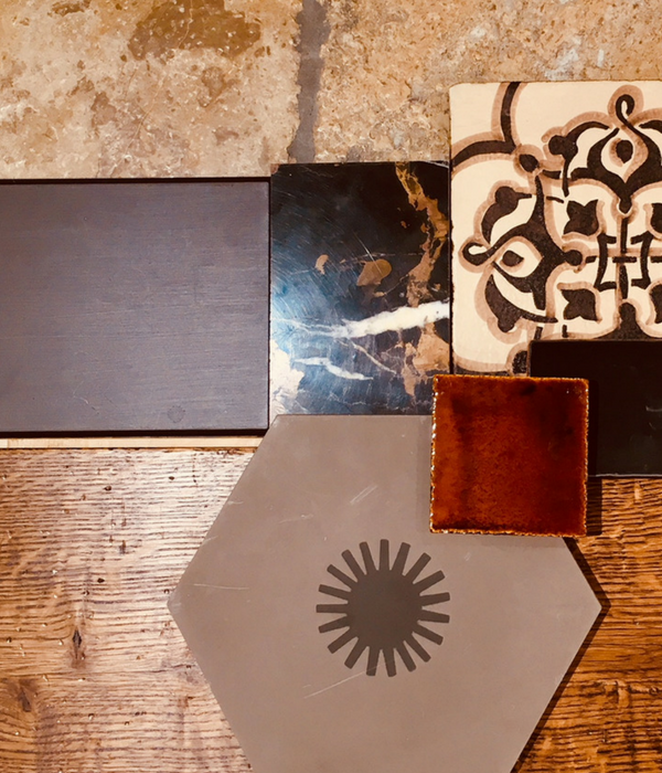 Mood board with wood and stone samples